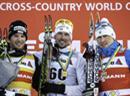 Johan Olsson (M, SWE), Dario Cologna (L, SUI) und Alexander Legkov (R, RUS).