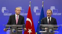 Recep Tayyip Erdogan mit EU-Ratspräsident Donald Tusk heute in Brüssel.