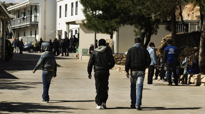 Flüchtlinge auf Lampedusa in Italien.