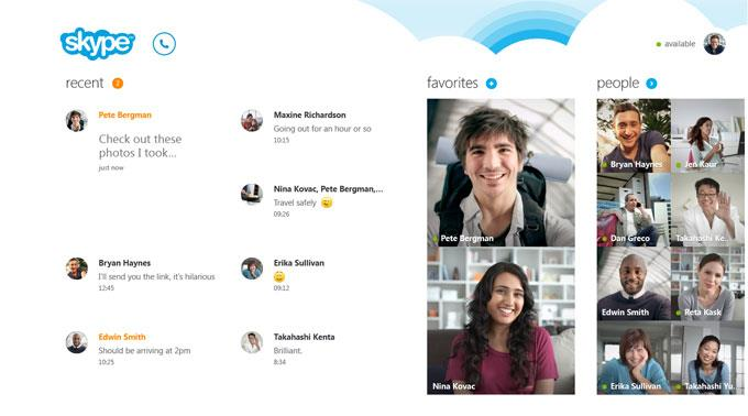 Microsoft Skype für Windows 8.
