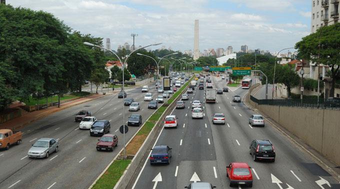 Verkehr in Sao Paulo.