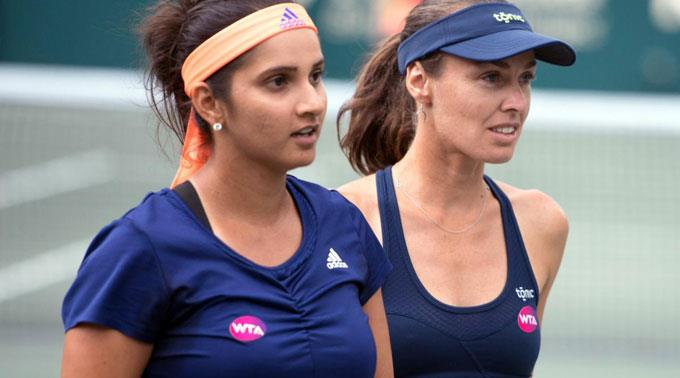 Martina Hingis und Sania Mirza im Doppel.