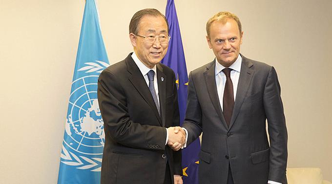 UNO-Generalsekretär Ban Ki-moon trifft Donald Tusk, EU-Ratspräsident.